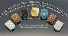 BLING SALE! Genuine 0.20 CTW Micro Pave Diamond Teeth BLOCKS For Grills