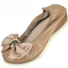 US5-9 real Leather Comfort Bowknot SLIP-ON Loafer ladiess ballerina shoes  [JG]