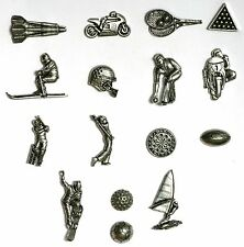 Sports Themed Pewter Fridge Magnets Bowls Rugby Cricket Skiing Multi Listing