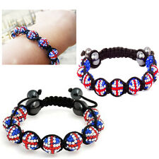 Union Jack Bracelet Shamballa British Shiny Crystal Ball 09 Disco Beads Unisex