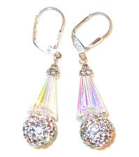 CLEAR AB & CLEAR Crystal Earrings Silver Artemis Disco Ball Swarovski Elements