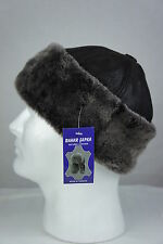 Brown 100% Sheepskin Shearling Leather Fur Beanie Round Bucket Hat Winter S-3XL