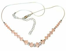 Handcrafted PEACH Crystal NECKLACE Sterling Silver Swarovski Elements