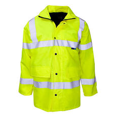 Hi Vis - Yellow  breathable Parka jacket waterproof & quilted lining  S - 5XL