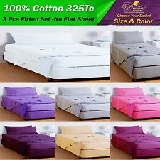 NEW 100% PURE COTTON QUEEN & KING SIZE FITTED SHEET SET -No Flat Sheet FREE POST