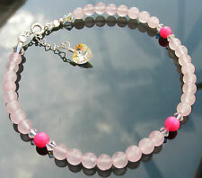 Ankle Chain Bracelet Gemstones 925 Silver made with Swarovski Elements