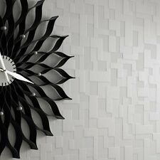 Checker Brick Wallpaper, 3d Block effect wallpaper White Colour