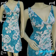 NEW Womens BLUE White Hawaiian Floral Flowers Pattern Print V-Neck Summer DRESS