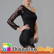 Black Lace Covered One Shoulder New Sexy Mini Dress Clubwear Ball Party