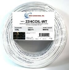 SCP White 22 GA Gauge AWG 4 Conductor Stranded Copper Alarm Wire Security Cable