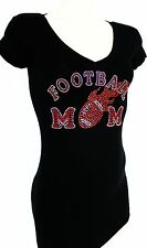RED RHINESTONE FLAMING FOOTBALL MOM JUNIOR SHEER V NECK M L XL 2XL 3XL SHIRT NEW