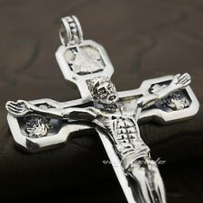 Huge & Heavy Jesus Crucifix Cross Solid 925 Sterling Silver Pendant 8A009