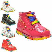 KIDS GIRLS TODDLERS VINTAGE RETRO LACEUP FUNKY ANKLE COMBAT BOOTS SHOE SIZE 5-12