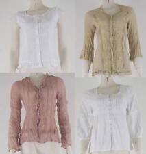 Ladies Shirts Sheer Lace Cotton Blend Casual Work Wear Collar Summer Tops New