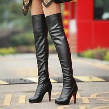 Sexy Womens Pleated High Heeled Platform Over Knee Thigh High Boots Shoes Zip
