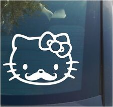 Hello Kitty Mustache Vinyl Decal Sticker cute girly funny bow stance scrapbook