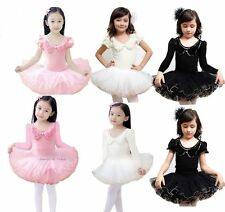 Girls Party Ballet Tutu Dance Dress 3-8Y Kids Leotard Long Short Sleeve Costume