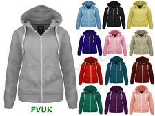 NEW WOMENS LADIES PLAIN HOODIE HOODED ZIP TOP ZIPPER SWEATSHIRT COAT JACKET