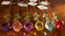 Glass Crystal Rose Flowers w/ long stem red blue green pink purple turquoise
