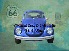 VW Bug Beetle on Maps & Route 66 Signs Signed Matted Picture Art Print A513