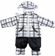 "BABY BOYS SNOWSUIT 2pc SET DUNGAREE & JACKET ""TRUCK"" GREY BNWT #131"