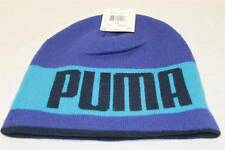 PUMA REVERSIBLE SLOUCH BEANIE STOCKING HAT CAP BLUE KNIT