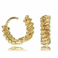 AU Yellow Gold Filled Women Small Huggie Hoop Pierced Earrings 080
