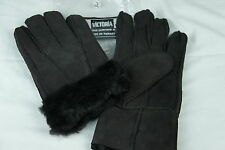 Brown 100% Sheepskin Shearling Suede Leather Men Gloves Warm Winter S M L XL 2XL