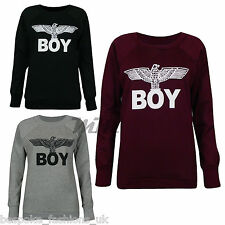 Womens Army Eagle Wings Boy Print Ladies Sweatshirt Jumper Winter Pullover 6-12