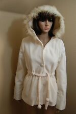 FINESSE Lined Fleece Fur Trim Hood Tie Waist Jacket/Coat~Many Colors/Sizes S/M/L