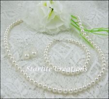 Swarovski crystal Pearl Necklace Bracelet Earrings bridal Set Sterling Silver