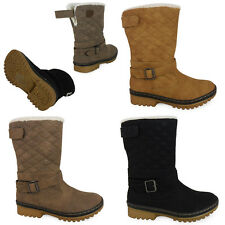 WOMENS LADIES WINTER QUILTED FUR SNOW GRIP SOLE VELCRO ANKLE BOOTS SHOES SIZE
