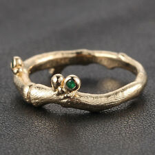 Hand Crafted Twig Diamonds and Emerald 14K Yellow Gold Engagement Wedding Ring