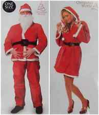 ADULT SANTA CLAUS SUIT CHRISTMAS RED FANCY DRESS MALE/FEMALE COSTUME BRAND NEW