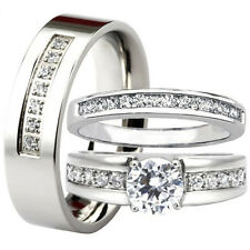 His & Hers Matching MENS WOMENS Round CZ Engagement Wedding Bridal Band Ring Set