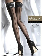 Fiore MELITA 20 Denier Sheer Lace Top Back Seam Hold Up Bridal Stockings On Sale