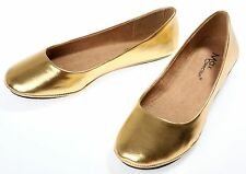 Womens Gold Ballet Flats Ballerina Casual Slip On Shoes Ladies Faux Leather