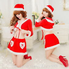 Womens Xmas Party Santa Claus Dress Sexy Christmas Mini Costume Lingerie Outfits