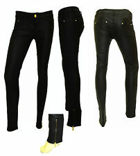 WOMENS NEW SHINY LEATHER LOOK WITH SIDE POCKETS& BOTTOM ZIP DETAIL TROUSER