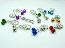 Jingle BELL Pet PUPPY Cat Callor w/Lobster Clasp CLIP On CHARM ~ Pick Color ~
