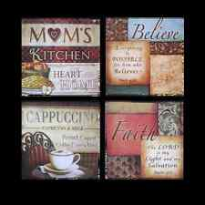French Italian Bistro Framed Kitchen Home Wall Plaque Decor, Set of 4, 2 Styles