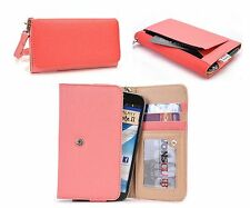 Kroo Lady's Posh Phablet Leather Wallet Flip Case Cover w/Hand-Wrist Strap PC RB