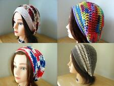 > White BLUE Purple Red GREY Yellow HANDMADE Crochet SLOUCHY Beret Tam HATs Knit