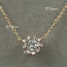 18K GF WHITE ROSE GOLD SWAROVSKI CRYSTAL PENDANT 0.75CT NECKLACE SMALL