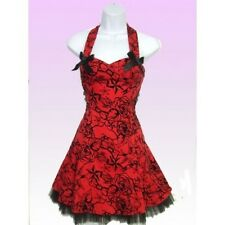 New Hearts and Roses Red Flock Dress. Punk Rock Goth Retro Stunning Style!