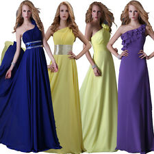 4 Styles One Shoulder Long Wedding Bridesmaid Prom Evening Dresses Formal Party