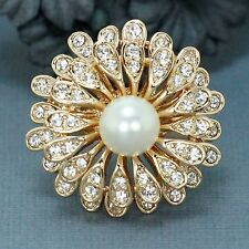 18K Gold GP Clear Czech Crystal Rhinestone Chrysanthemum pearl Band Ring