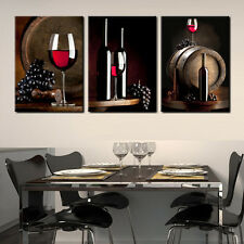 Wine/Barrel/Bottle ready to hang set of 3 mounted pictures/Improved canvas print