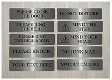 VITAL HOUSE OFFICE SIGNS Cold Callers, Close Door, Knock... Large Brushed Silver