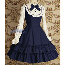 Lolita Ruffle Tiered Dress Gothic Cosplay Long Sleeve Bow Swing Vintage Blue New